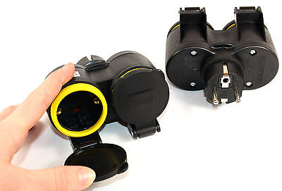 Double 3 Piece Schuko Coupling Outdoor 230V IP44 Protected Connector Lid 732