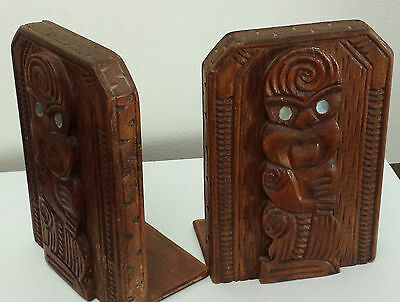Maori Carved Wooden Tiki Bookends