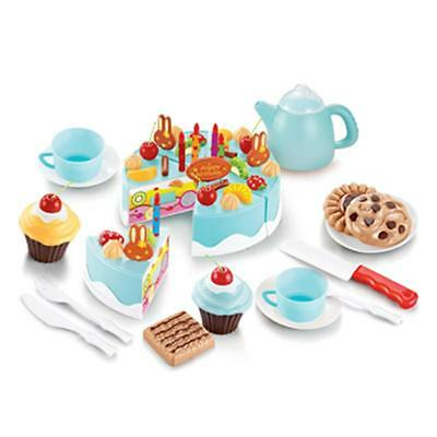 54pcs Pretend Role Play Kitchen Toy Birthday Cake Food Cutting Set Kids Gift