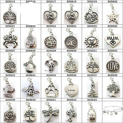 10pcs Antique Retro Dangle Pendant Jewelry charms With Lobster Clasps For Bangle