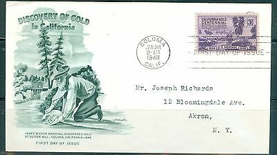 US FDC 954 Discovery OF Gold California Cancel.Coloma CA.Jan 24 -1948 Addr