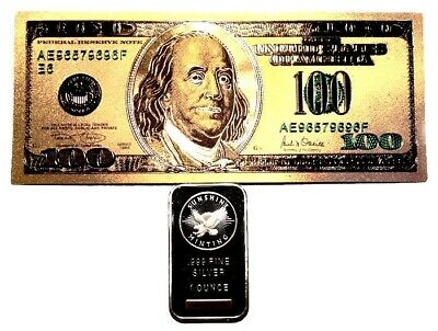 1 Troy Ounce .999 Fine Silver Sunshine Minting Bar Bu + 99.9% 24K Gold $100 Bill