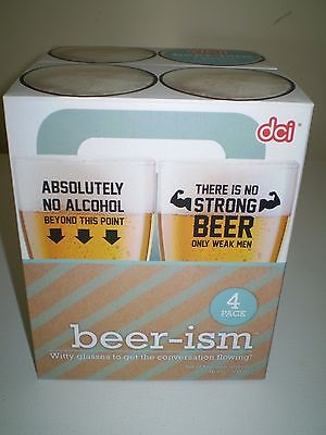 *NIB* dci - beer-ism beer glasses Set of 4 - (16.9 oz.)
