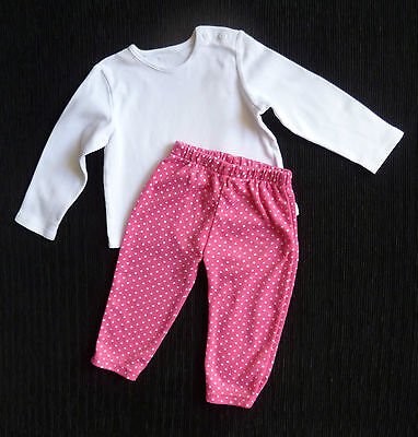 Baby clothes GIRL 6-9m outfit George long sleeve white cotton top/pink leggings