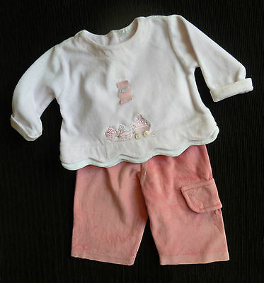 Baby clothes GIRL 6-9m velour outfit Feu Follet long sleeve top/mid-pink trouser