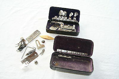 Antique White Sewing Machine Two Metal Attachment Boxes with Attachments