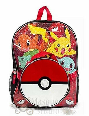 "16"" Pokemon Large Red School Backpack with Detachable Pokeball Lunch Bag"