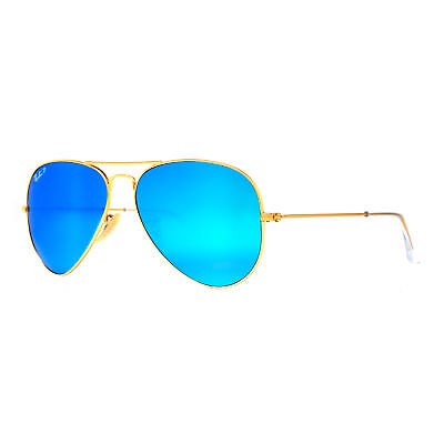 Ray Ban RB 3025 112/4L 58mm Gold Polarized Blue Flash Aviator Sunglasses