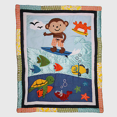 Carter's Laguna Collection -  Crib Quilted Appliqued Comforter - Surfing Monkey