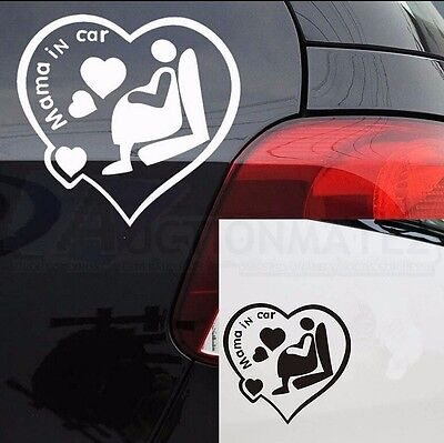 Mama in Car warning Stickers waterproof Decal Decor Cute Lovely Mum Mother funny