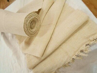 * MINT * Vtg Antique CREAM HEMP LINEN GRAIN BAG fabric Feed Sack 2 YD No Stripe