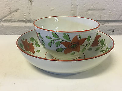 Antique English Ridgway Cup & Saucer w/ Rust Flowers Decoration Impressed Mark