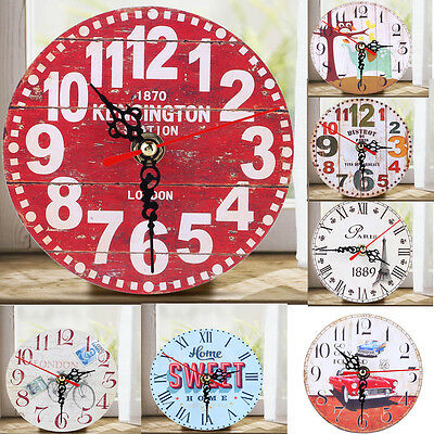 Antique Clock Wall Rustic Vintage Style Wooden Round Clocks Home Office Decor