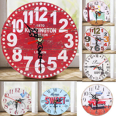 Vintage Wooden Wall Clock Round Rustic Kitchen Shabby Chic Home Antique Decor