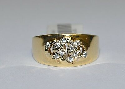 CLEARANCE 14k Yellow Gold Clear Stone Ladies Band 4.00gm 9mm Wide #691755