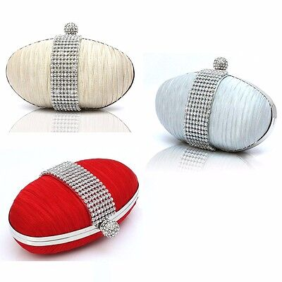 Womens Cute Oval Shape Satin Diamante Clutch Hand Bag Wedding Bridal Red Silver