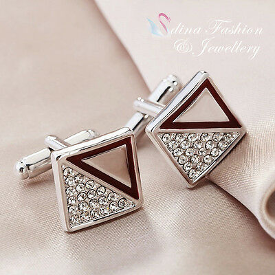 18K White Gold Plated Simulated Diamond Square & Triangle Men`s Cufflinks