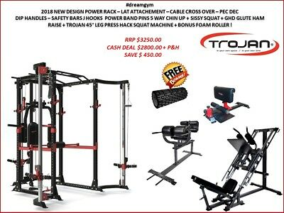 Power Rack Cage Lat Attachment Cable Cross Over + Leg Press + Hack Squat + GHD G