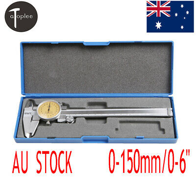 "Shock Proof Measure Dial Stainless Steel Vernier Caliper 0-150mm/0-6""Case Box"