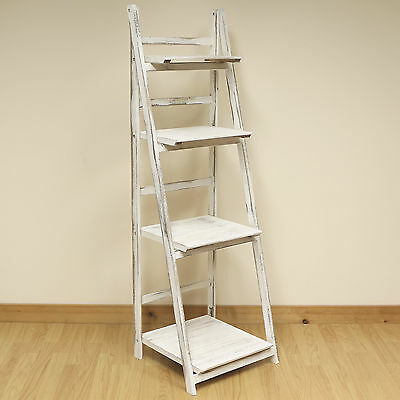 4 Tier White Wash Ladder Shelf Display Unit Free Standing/Folding Book Shelves