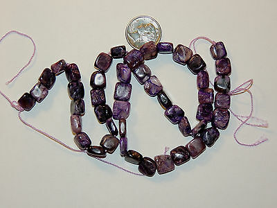 Charoite Drilled squareish Beads from Russia 7-9mm (10754)