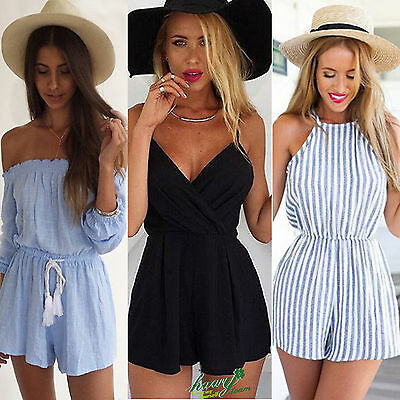 Women Sexy Strap Shorts Jumpsuit Backless Playsuit Casual Beach Clubwear Rompers