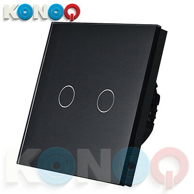 KONOQ Luxury Glass Panel Touch LED Light Smart Switch ON/OFF, Black, 2Gang/1Way
