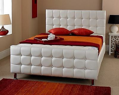 Cube Diamante Faux Leather Crystal Bed White 3FT 4FT6 5FT Diamonte Diamond Bed