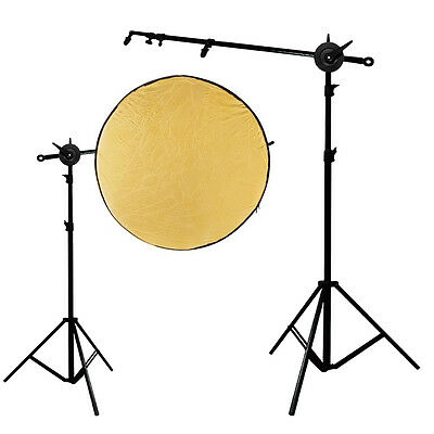 "Photo Bracket Holder 24""-66"" Swivel Head Reflector Arm Support Black Backdrop"