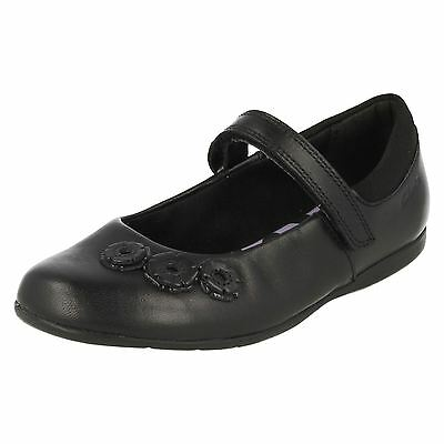 Girls Clarks Dance Crush Inf Black Leather School Shoes F & G Fittings