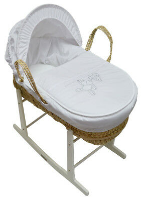 Grey Hanging Ted Palm Baby Moses Basket And White Rocking Stand New