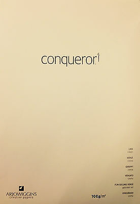 50 A4 SHEETS OF CONQUEROR CREAM LAID (TEXTURED) 100gsm PAPER. PACK OF 50