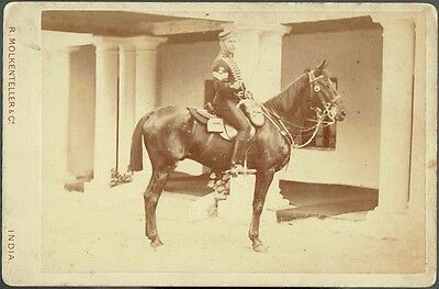 Mounted Soldier in India - Superb  1881 Cabinet Card by Molkenteller, India
