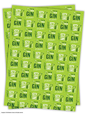 Brainbox Candy Gin O'Clock wrapping paper gift wrap 2 sheets birthday funny