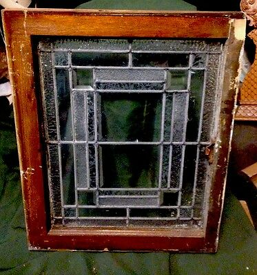 Architectural Deco Geometric Heavy Bevel & Frost Window Frank Lloyd Wright Style