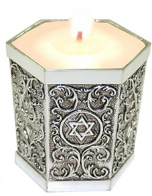 Judaica Memorial Candle Holder Shabbat Magen David Etched