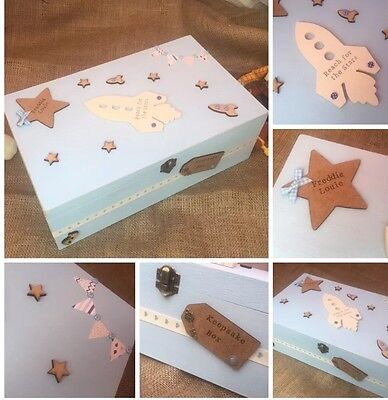 🎀Personalised Luxury Baby Wooden Memory/Keepsake Box Gift 👶🏻💗💙