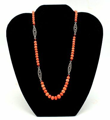 Fine Edwardian 14K Gold Genuine Salmon Red Coral Bead Necklace 19.1 Grams
