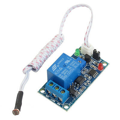 DC 12V Photoelectric Switch Sensor Relay Module 50mmx25mm w 2 Cable PK