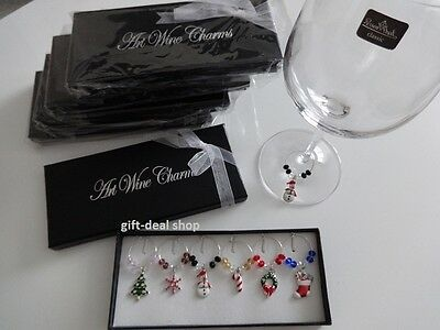 1 Box 6 Mixed Christmas Wine Glass Charms Gift Table Decorations- HIGH QUALITY