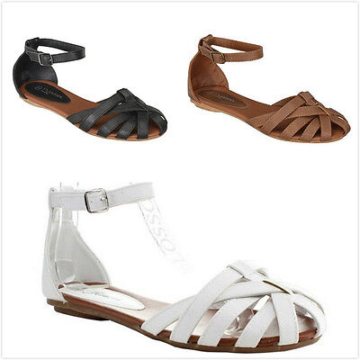 Brand New Women's Fashion Gladiator Strappy Ankle Strap Flat Sandals Shoes