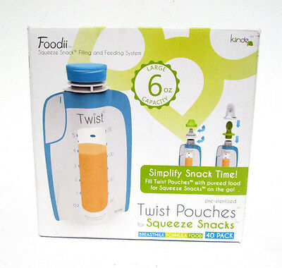 Kiinde Foodii Twist Pouches For Squeeze Snacks - 40 count [MB-A-K]
