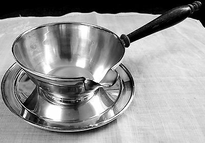 Brandy warmer & plate Frank M Whiting 1600 sterling silver saucier / pipkin