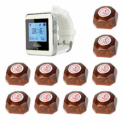 Wireless Restaurant Service Paging Calling System 1Watch Receiver&10 Call Button