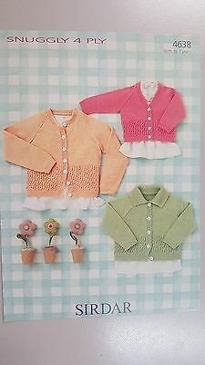 Sirdar Knitting Pattern #4638 Baby or Child's Cardigans to Knit in Snuggly 4 Ply