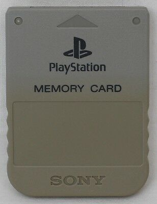 Genuine Original Sony PlayStation 1 (PS1) PSX Memory Card (Grey/Gray) SCPH-1020
