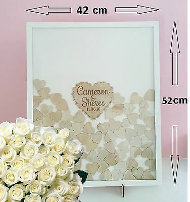 Personalised Shabby Wooden Guest Book dropbox LARGE, Frame Wedding 170 hearts