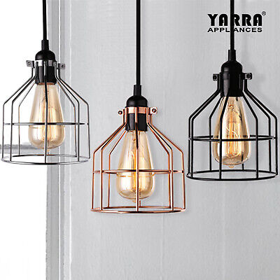 Cage Vintage Lamp Contemporary Pendant Light With Filament Bulb