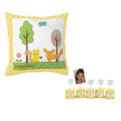 Happy Nursery Gift Set - Cotton Pillow, Woodland Creatures, Photo Block Holder