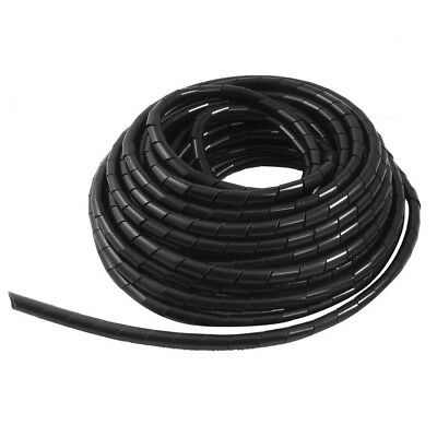 Black 8mm Outside Dia 12M Polyethylene Spiral Cable Wire Wrap Tube WS